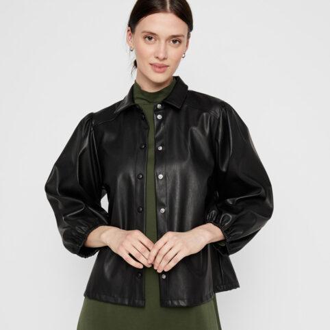 Pieces Black Faux Leather Shirt - Buy Online UK