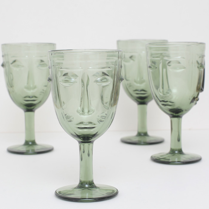 Art Deco Face Wine Glasses - Buy Online uK