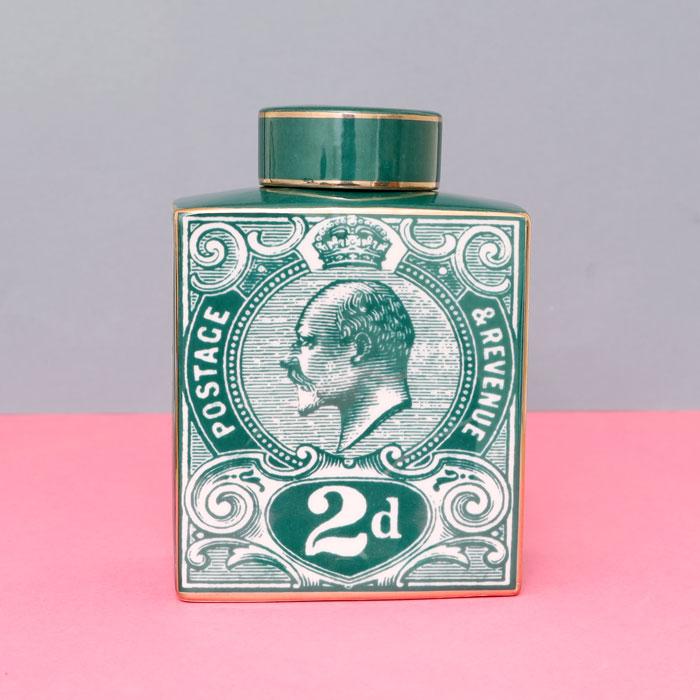 Green Stamp Detail Ginger Jar - Buy Online UK