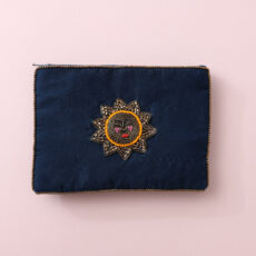My Doris Blue Velvet Sun Purse - with handsewn beads. For sale online with free UK delivery over £20