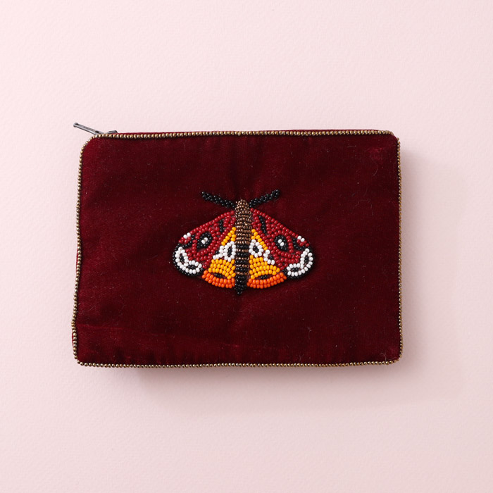 Small Moth Velvet Purse with hand-sewn beads on a rich burgundy velvet. For sale online UK