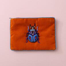 Orange Velvet Beetle Purse - Hand sewn beaded beetle on vibrant orange velvet. Buy online UK