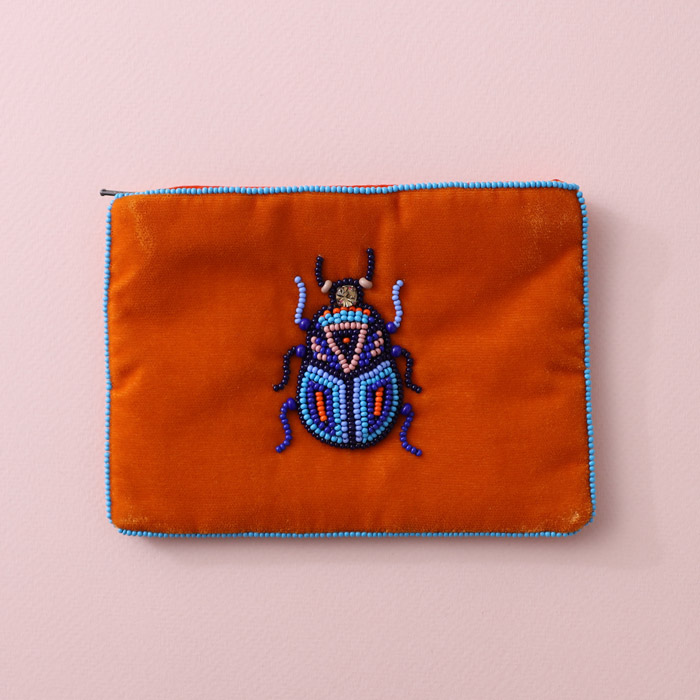 Orange Velvet Beetle Purse - Hand sewn beaded beetle on vibrant orange velvet. Buy online UK