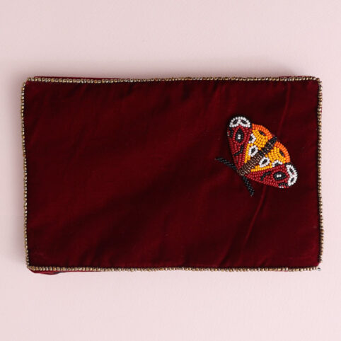 Large Moth Velvet Purse with hand-sewn colourful beads. Buy online with free delivery over £20
