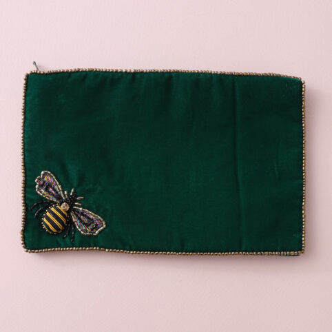 Large Velvet Bee Purse in lush green velvet. Buy online with free UK delivery over £20