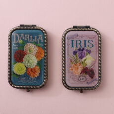 Vintage Inspired Compact Mirror - Dhalia or Iris. Ideal as gifts, they come with a matching pocket envelope carrying on the vintage theme. Buy online UK