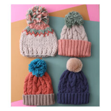 Powder Pom Pom Hat - 4 Designs. Great colours to brighten your outfit and keep you warm. For sale Online UK