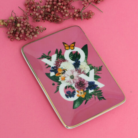 Gallison Floral OXO Trinket - pretty pink pink base with flowers and a bold XOXO in the middle. A lovel gift for a loved one. Source Lifestyle UK