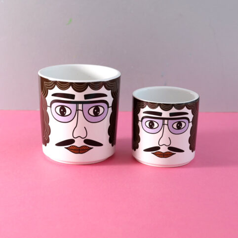 mustache man face plant pot - add some 70's vibe to your home. Choose from two sizes with free UK delivery over £20