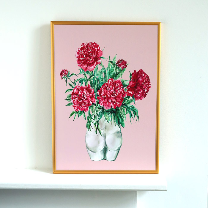 Bum Vase Print - Framed in a gold metal frame. The perfect gift for a loved one or friend as a stand alone piece or part of a set. Buy online with free UK delivery over £20