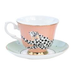 Yvonne Ellen Cheetah Cup and Saucer