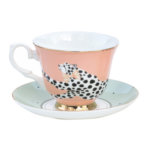 Yvonne Ellen Cheetah Cup and Saucer