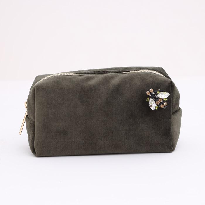 Dark Olive Velvet Make Up Bag - Buy Online UK