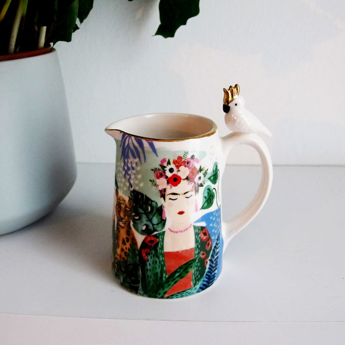 Frida Kahlo Jug from House of Disaster. Buy online with free UK delivery over £20