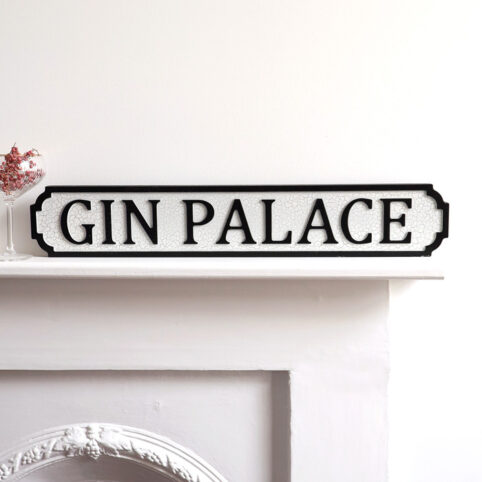 Wooden Street Sign Gin Palace - Buy online UK