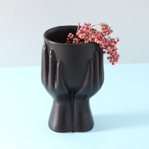 Hands Black Ceramic Planter - Buy Online UK