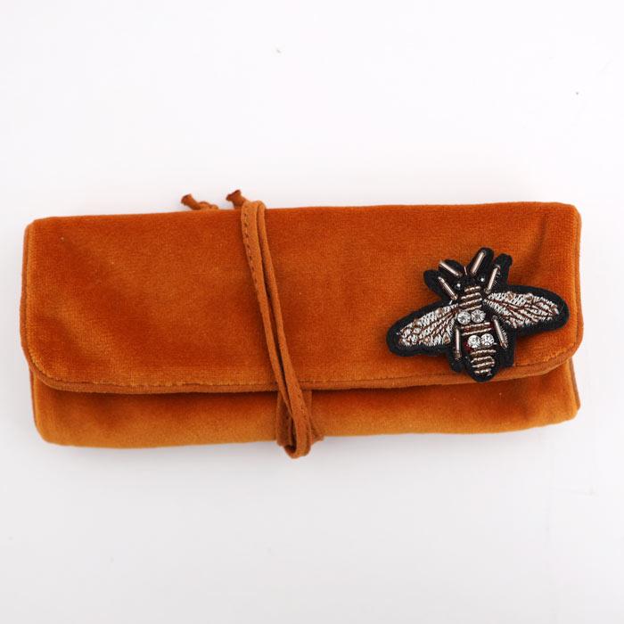 Orange Velvet Jewellery Roll - Buy Online UK