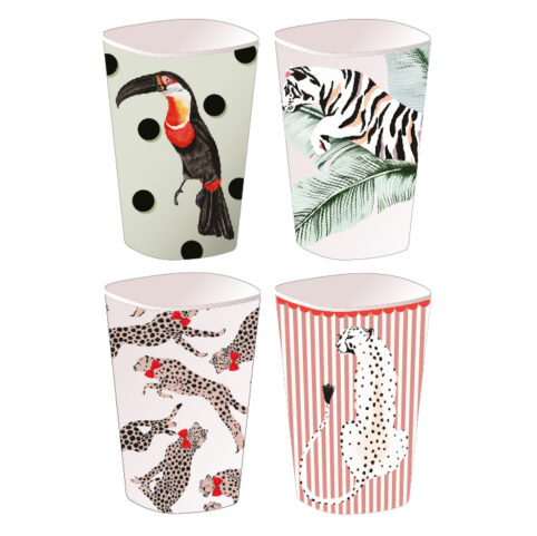 Yvonne Ellen Picnic Tumblers - set o4 4 playful wild animal illustrations. Buy online with free UK delivery