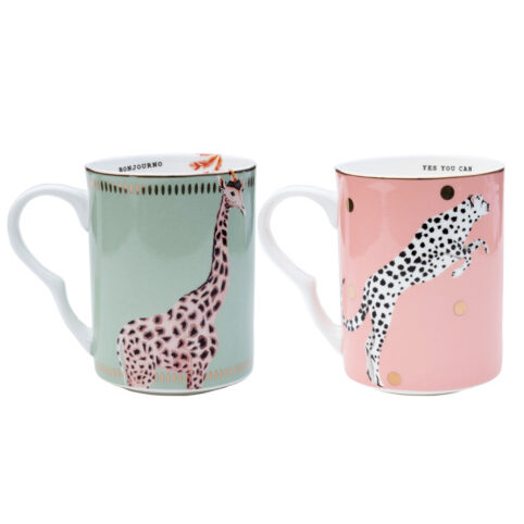 Yvonne Ellen Set of Two Exotic Animal Mugs - Buy Online UK