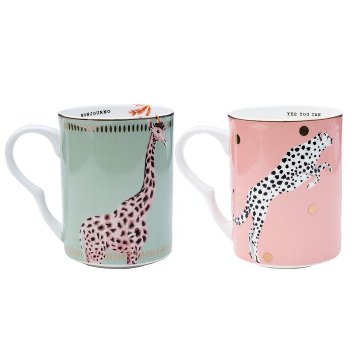 Yvonne Ellen Set of Two Exotic Animal Mugs - Buy Online UK