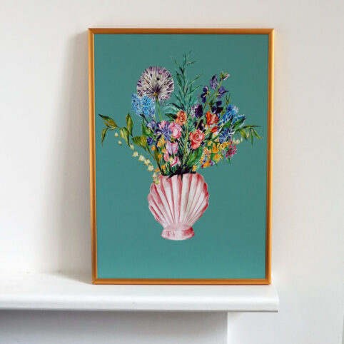 shell vase with blooms art print presented in a thin gold frame. Bring the garden into your home - buy online with free UK delivery