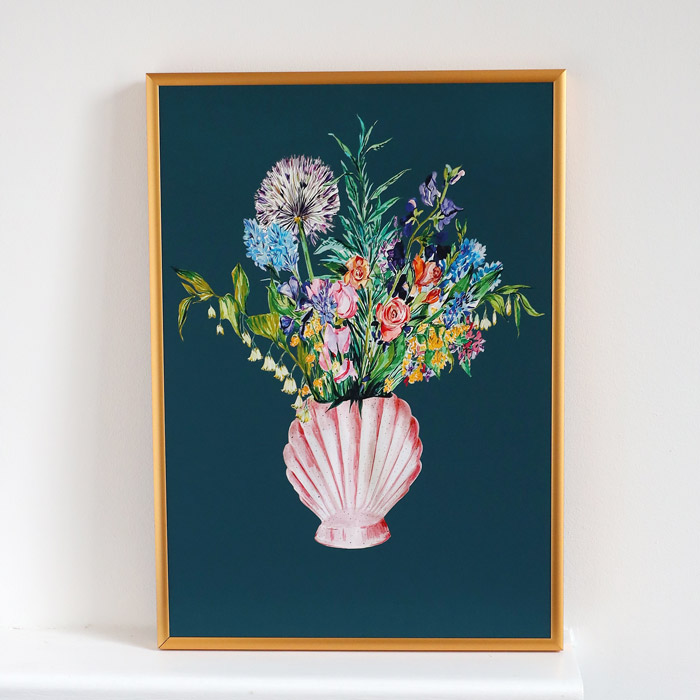 Shell Vase with Garden Blooms Print - Buy Online UK