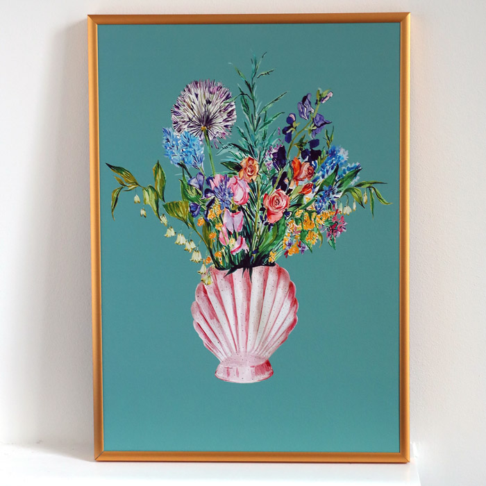 Shell vase with blooms art print in a gold metal frame, buy online with free UK delivery over £20