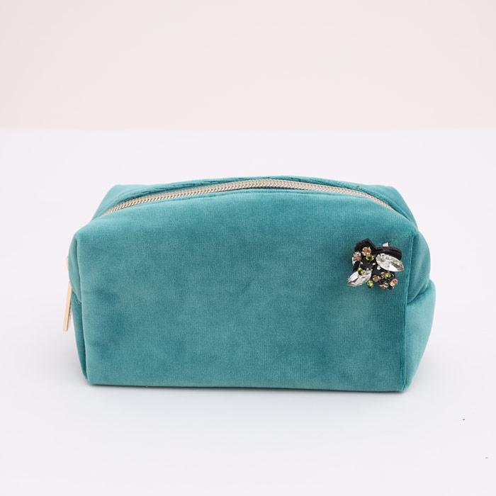 Sixton Turquoise Velvet Make Up Bag - Buy Online UK