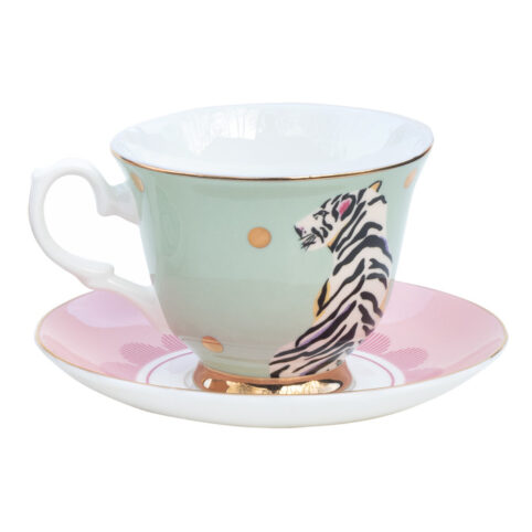 Yvonne Ellen Tiger Cup and Saucer - Buy Online UK