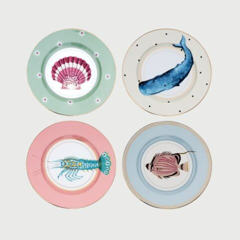 Set of 4 Sea Creature Plates - Yvonne Ellen