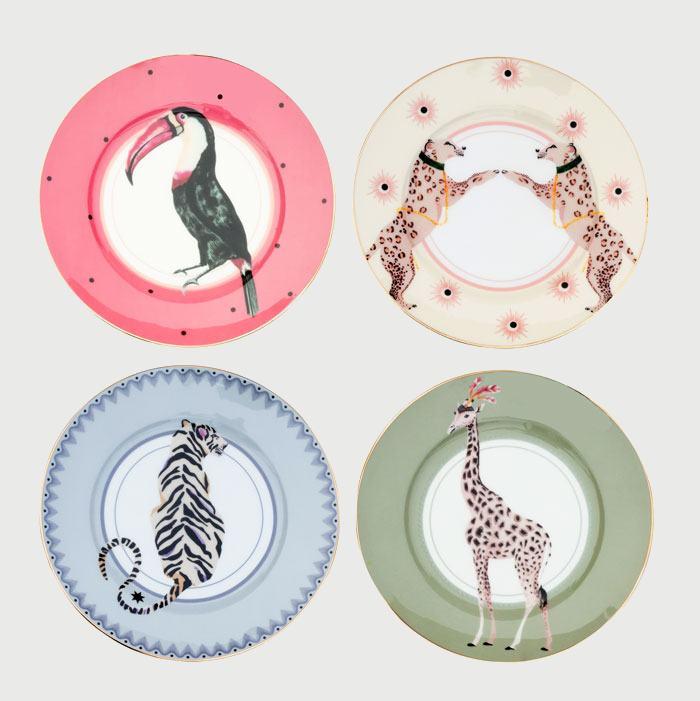 Animal Plates Set of Four from Yvonne Ellen