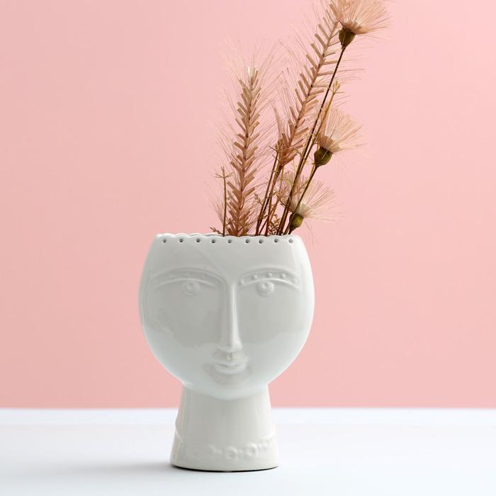 White Face Ceramic Vase - Buy Online UK