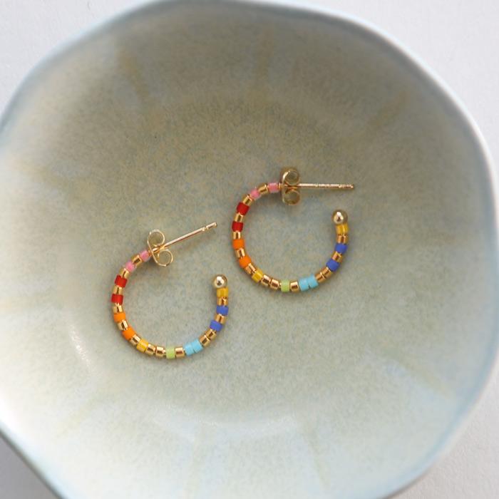 Small Beaded Hoops Multicoloured - Buy Online UK