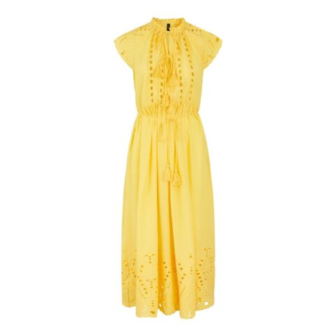 YAS yellow broiderie anglaise dress purchse online with free UK delivery