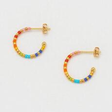 Rainbow Beaded Hoop Earrings - Buy online UK