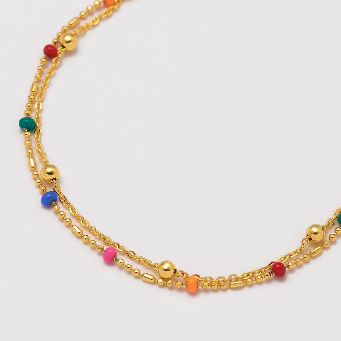 Rainbow Bead Necklace With Gold Chain - Buy online UK
