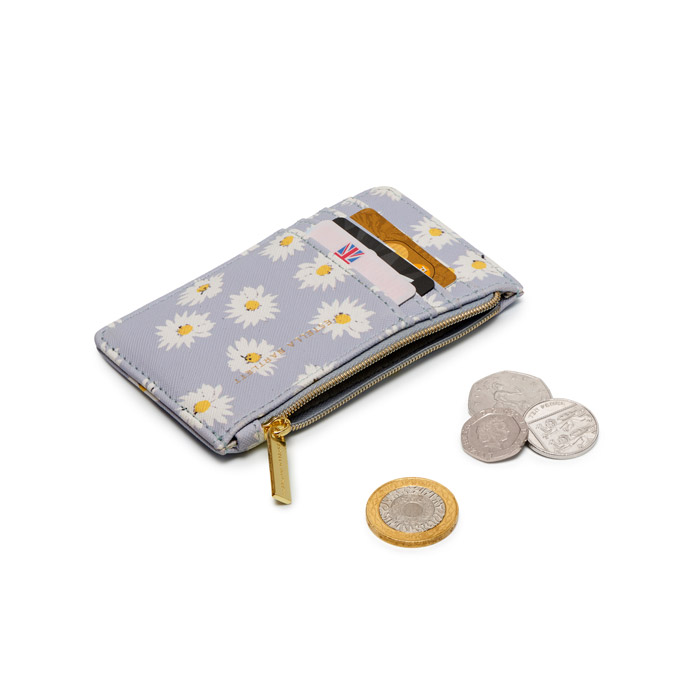 Estella Bartlett Daisy Card Purse - Blue. Buy online with free UK delivery over £20