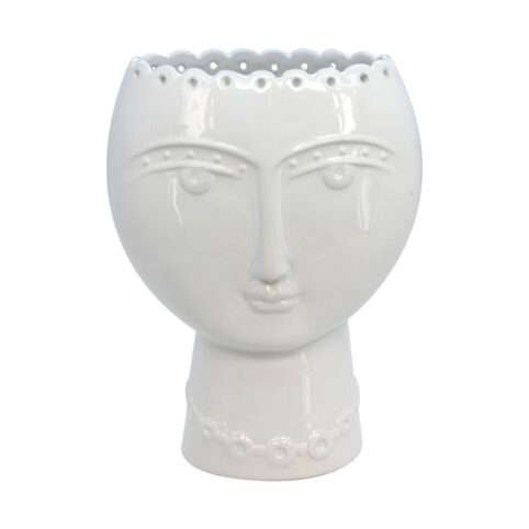 White Ceramic Face Vase - Buy Online UK