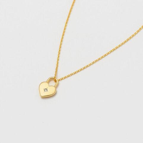 Estella Bartlett Gold Heart Lock Necklace - Buy online UK