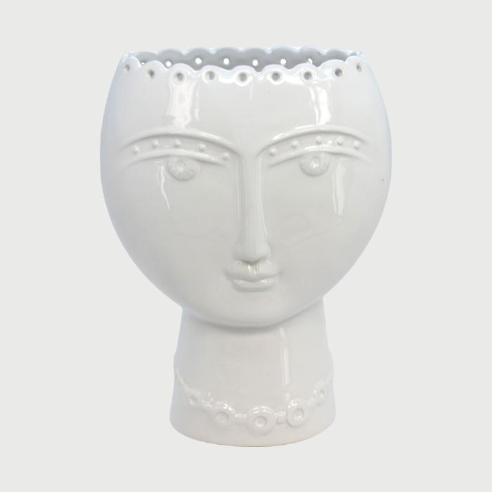 White Ceramic Face Vase from Gisela Graham