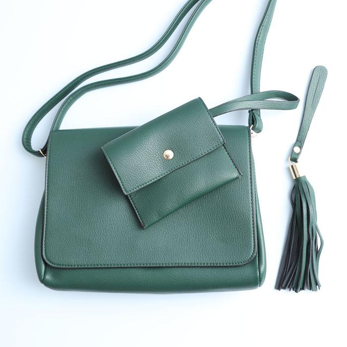 Green Crossbody Bag with purse