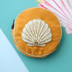 Round Velvet Coin Purse with a beaded Shell - Buy Online UK