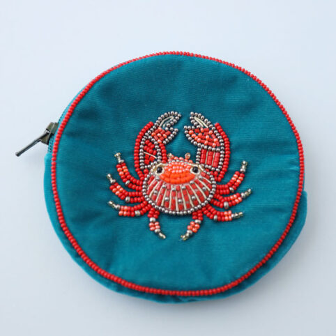 Velvet Beaded Coin Purse With a Crab