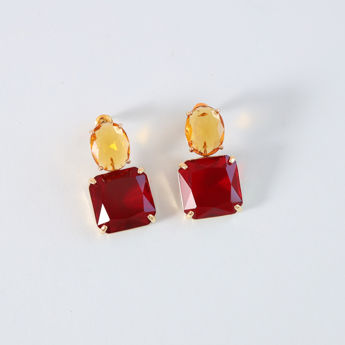 Gemstone Earrings Yellow and Red - Buy Online UK