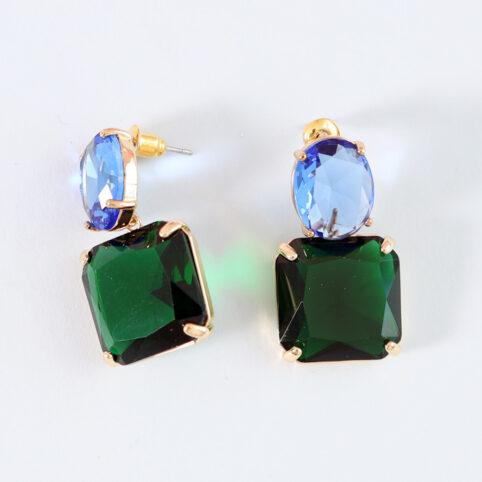 Green and Blue Demi Fine Stone Drop Earrings - Buy Online UK