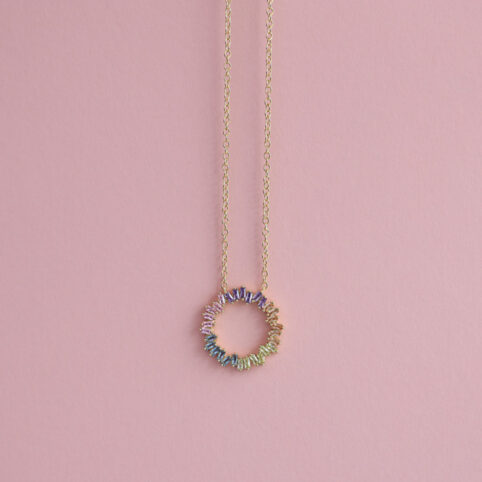 Round Crystal Necklace with Cubic Zirconia - Buy online UK
