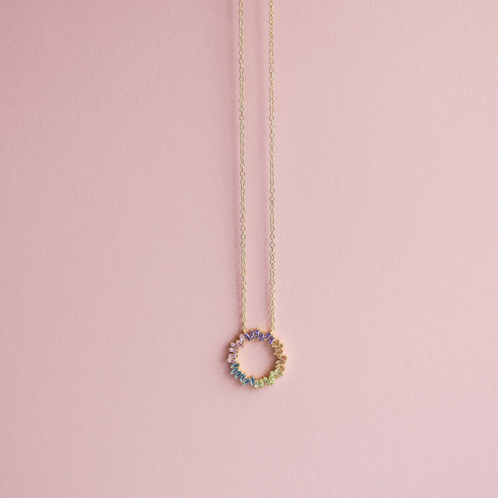 Round Multicoloured Crystal Necklace - Buy Online UK