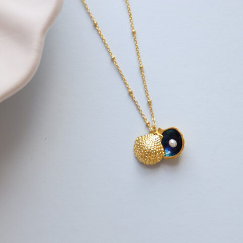 Gold Shell Necklace With Pearl - Get Free Delivery When You Spend Over £20 Online
