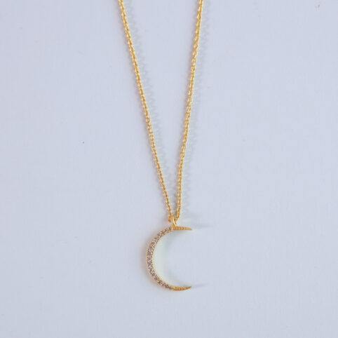 half moon necklace - gold plated brass. Buy online UK