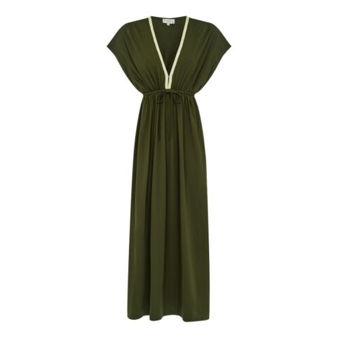 Nooki Maxi Dress in Khaki - Perfect For Day Or Night. Buy Online UK